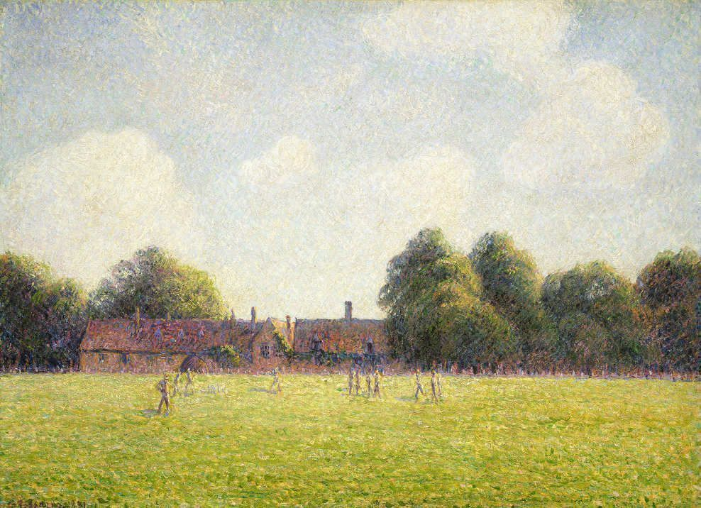 Camille Pissarro, Hampton Court Green, 1891, Öl auf Leinwand, 54,3 × 73 cm (National Gallery of Art, Washington – Ailsa Mellon Bruce Collection)