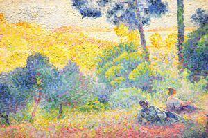 Henri-Edmond Cross, Landschaft der Provence, Detail, 1898, Öl auf Leinwand, 60,3 × 81,2 cm (Wallraf-Richartz-Museum & Fondation Corboud, Köln)