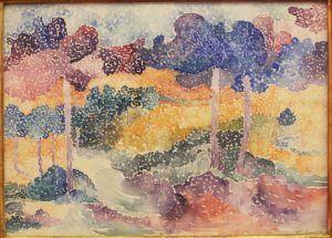Henri-Edmond Cross, Pinien, um 1906, Aquarell auf Papier, 27 × 37 cm (Collection Plaussu, Galerie de la Présidence, Paris)