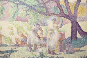 Henri-Edmond Cross, Bauernhof am Morgen, Detail, 1893, Öl auf Leinwand, 65 × 92 cm (Musée des Beaux-Arts de Nancy)