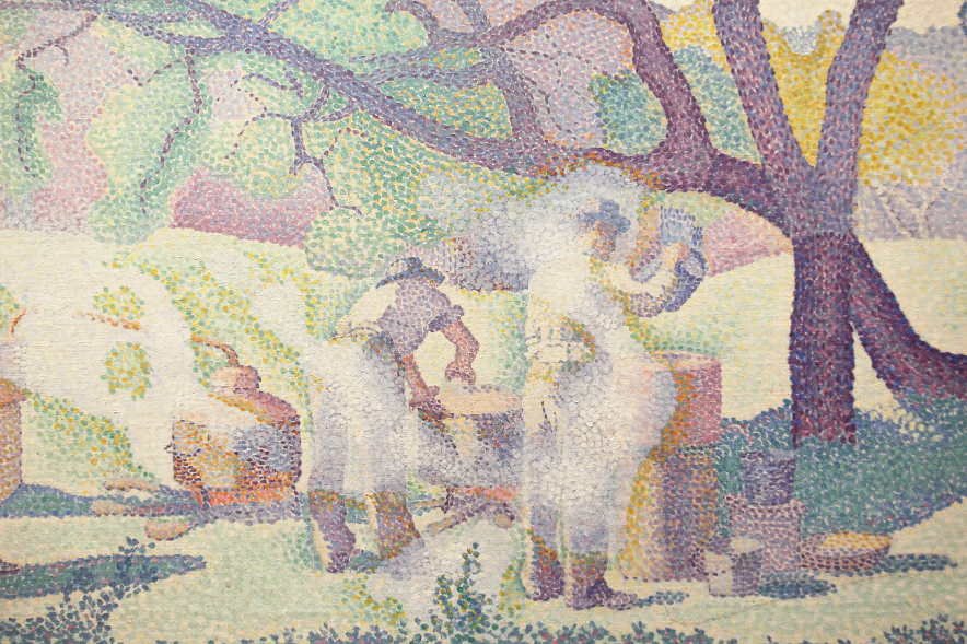 Henri-Edmond Cross, Bauernhof am Morgen, Detail, 1893, Öl auf Leinwand, 65 × 92 cm (Musée des Beaux-Arts de Nancy)