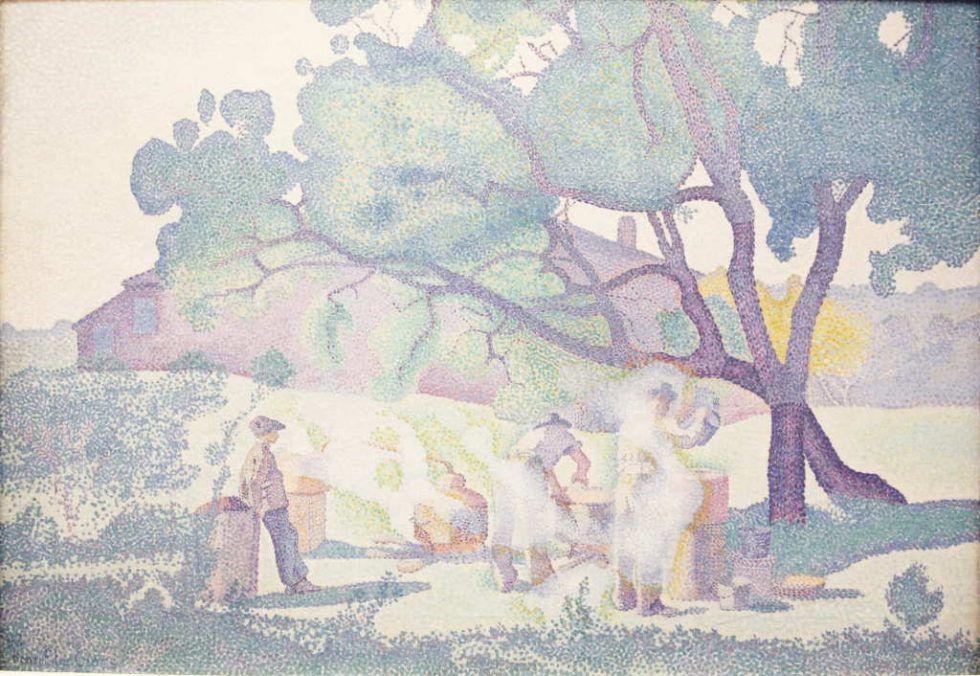 Henri-Edmond Cross, Bauernhof am Morgen, 1893, Öl auf Leinwand, 65 × 92 cm (Musée des Beaux-Arts de Nancy)