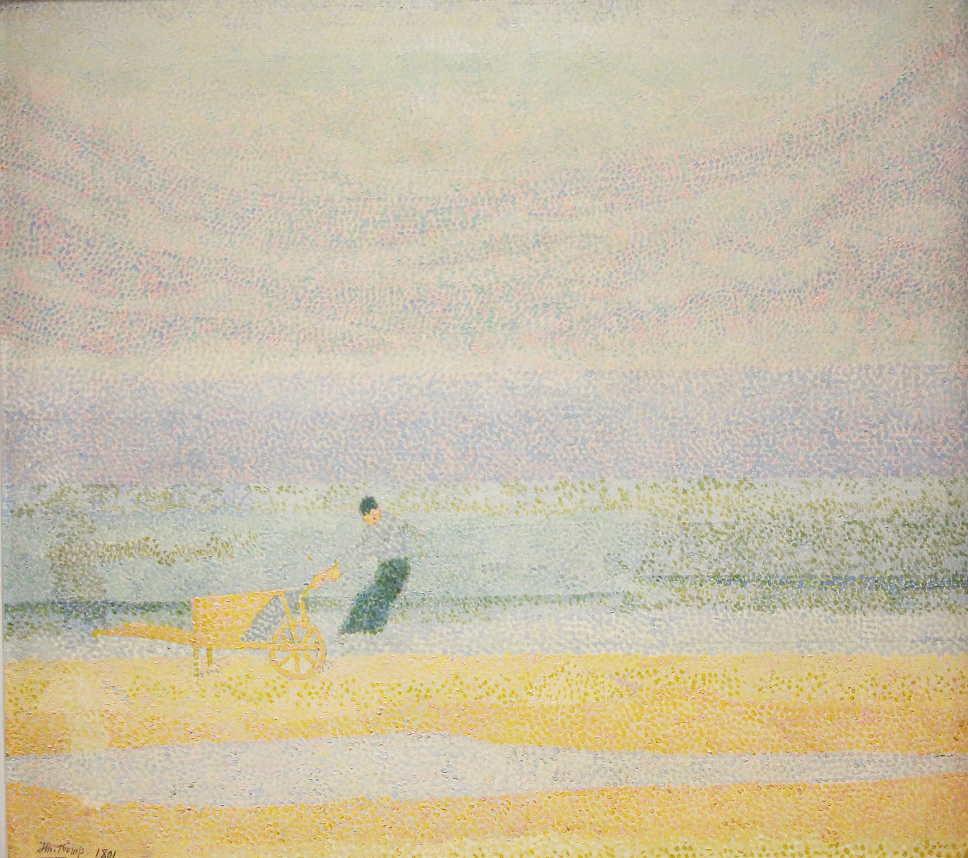 Jan Toorop, Muschelsammler am Strand, 1891, Öl auf Leinwand, 61,5 × 66 cm (Kröller-Müller Museum, Otterlo)