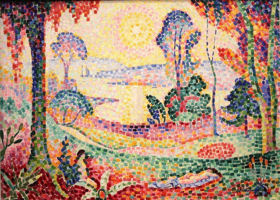Jean Metzinger, Landschaft bei Sonnenuntergang, um 1908, Öl auf Leinwand, 72,5 × 100 cm (Kröller-Müller Museum, Otterlo)