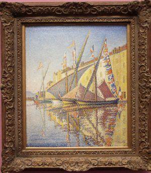 Paul Signac, Segelboote im Hafen von Saint-Tropez, Opus 240, 1893, Öl auf Leinwand, 56 × 46,5 cm (Von der Heydt-Museum, Wuppertal)
