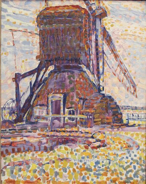 Piet Mondrian, Die Winkeler Mühle, pointillistische Fassung, 1908, Öl auf Leinwand, 44,5 × 34,3 cm (Dallas Museum of Art – Foundation for the Arts Collection, Schenkung James H. and Lillian Clark Foundatio)