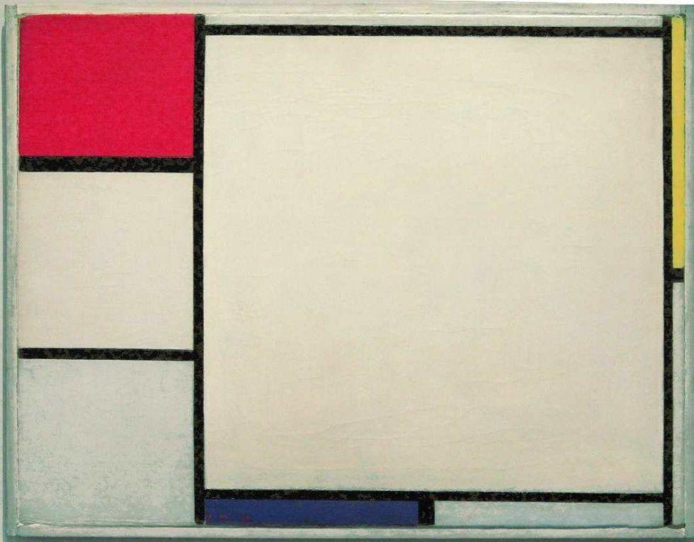 Piet Mondrian, Komposition in Rot, Gelb und Blau, 1927, Öl auf Leinwand, 40 × 52 cm (Kröller-Müller Museum, Otterlo)