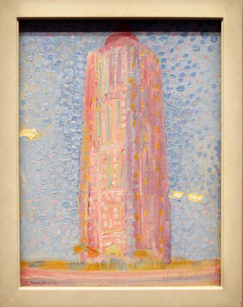 Piet Mondrian, Leuchtturm von Westkapelle in Rosa, 1909, Öl auf Karton, 39 × 29,5 cm (Gemeentemuseum, Den Haag)