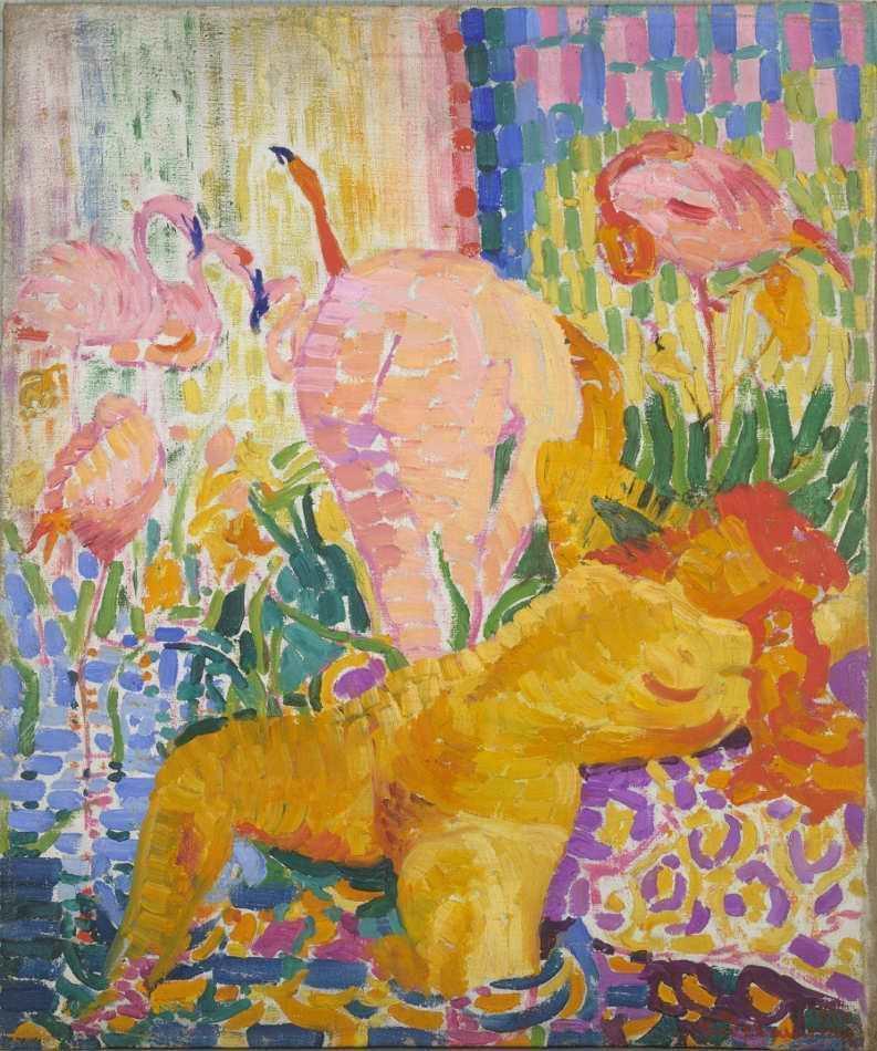 Robert Delaunay, Akte und Flamingos, 1907, Öl auf Leinwand, 55 × 45 cm (Albertina, Wien – Sammlung Batliner)