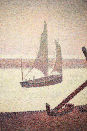 Georges Seurat, Ein Abend am Kanal von Gravelines, Detail, 1890, Öl auf Leinwand, 65.4 x 81.9 cm (The Museum of Modern Art, New York, Gift of Mr. and Mrs. William A. M. Burden, Inv.-Nr. 785.1963)