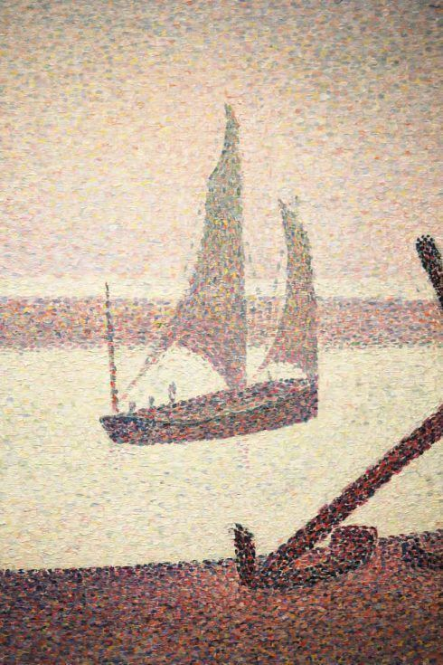 Georges Seurat, Ein Abend am Kanal von Gravelines, Detail, 1890, Öl auf Leinwand, 65.4 x 81.9 cm (The Museum of Modern Art, New York, Gift of Mr. and Mrs. William A. M. Burden, Inv.-Nr. 785.1963)