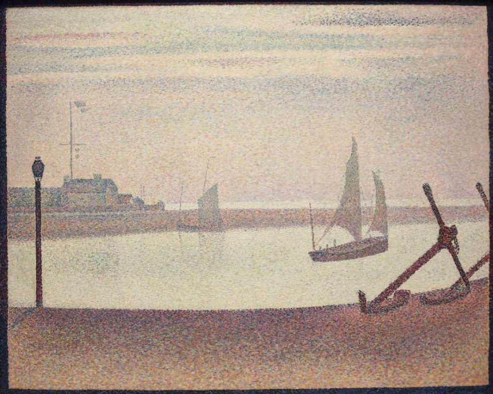 Georges Seurat, Ein Abend am Kanal von Gravelines, 1890, Öl auf Leinwand, 65.4 x 81.9 cm (The Museum of Modern Art, New York, Gift of Mr. and Mrs. William A. M. Burden, Inv.-Nr. 785.1963)