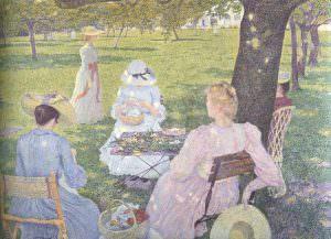 Théo van Rysselberghe, Später Vormittag im Juli (Der Obstgarten oder Familie im Garten), 1890, Öl auf Leinwand, 115,5 × 163,5 cm (Kröller-Müller Museum, Otterlo)