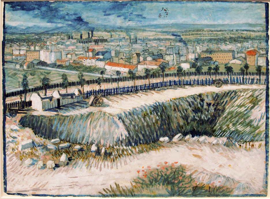 Vincent van Gogh, Pariser Vororte, Blick vom Montmartre, 1887, Gouache, Kreide, Bleistift und Feder auf Papier, 39,5 × 53,5 cm (Stedelijk Museum, Amsterdam)
