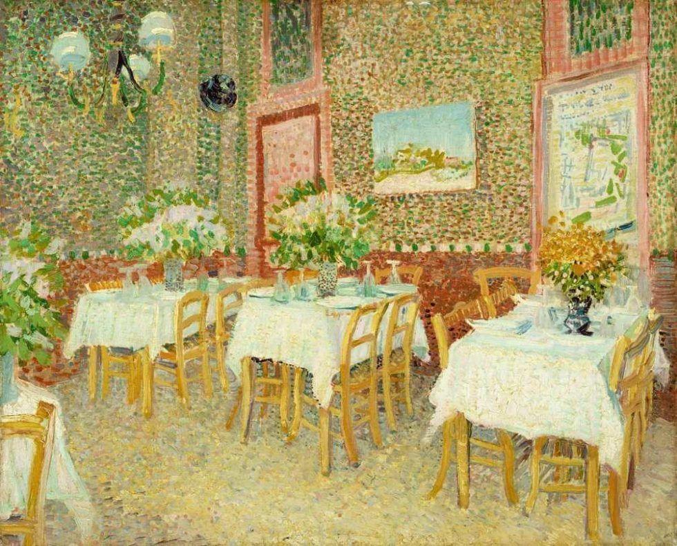 Vincent van Gogh, Interieur eines Restaurants, 1887, Öl auf Leinwand, 45,5 × 56 cm (Kröller-Müller Museum, Otterlo)