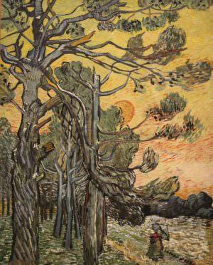 Vincent van Gogh, Pinien bei Sonnenuntergang, 1889, Öl auf Leinwand, 91,5 × 72 cm (Kröller-Müller Museum, Otterlo)