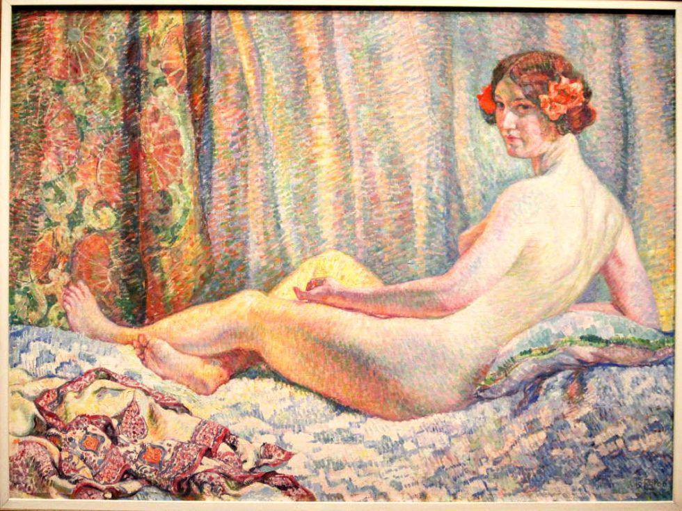 Théo van Rysselberghe, Odaliske (Gischia) oder Sonnenstrahl, 1906, Öl auf Leinwand, 97 × 130 cm (Kröller-Müller Museum, Otterlo)