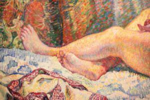 Théo van Rysselberghe, Odaliske (Gischia) oder Sonnenstrahl, Füsse, 1906, Öl auf Leinwand, 97 × 130 cm (Kröller-Müller Museum, Otterlo)