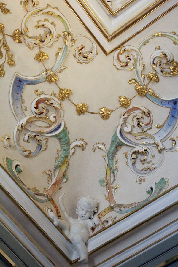 Deckendetail im Schreibzimmer im Stadtpalais des Fürsten von und zu Liechtenstein, Wien 1010, Foto: Alexandra Matzner.