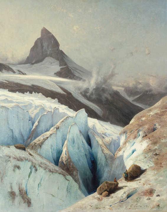 Gabriel Loppé, Das Matterhorn, 1867, Öl auf Leinwand, 79,5 x 63,5 cm, Kunstmuseum Bern, Geschenk Hanna Bohnenblust, Bern.
