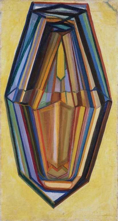 """Michail Matjuschin, Selbstporträt, """"Kristall"""", 1917, Öl auf Leinwand, 68 x 37,5 cm, Museum Ludwig, Köln."""