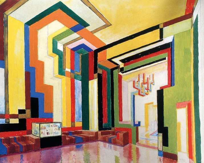Wenzel Hablik, o.T. (Entwurf für einen Festsaal), 1924, Aquarell, Tempera, Goldbronze, Bleistift auf Papier, 31,9 x 40,6 cm, Wenzel-Hablik-Museum, Itzehoe.
