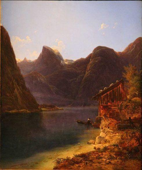 Franz Steinfeld, Der Hallstätter See, 1834, Öl auf Holz, 57 × 48 cm, Bez. u. r.: Steinfeld / 1834. (Belvedere, Wien, Inv.-Nr. 5023)