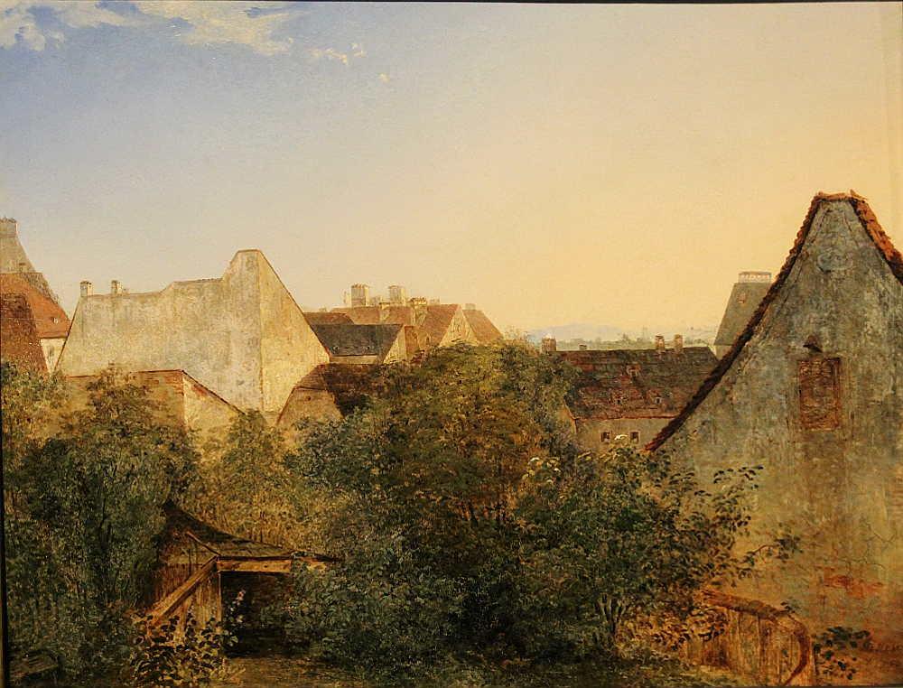 Adalbert Stifter, Blick über Wiener Vorstadthäuser (Beatrixgasse), 1839, Öl auf Holz, 34 × 41 cm, Bez. u. r.: Stifter / 1839 (Belvedere, Wien, Inv.-Nr. 1284)