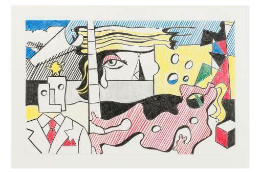 Sturtevant, Lichtenstein Final Study for Landscape with Figures, 1988, Fotograf Axel Schneider, MMK Museum für Moderne Kunst Frankfurt am Main © Estate Sturtevant, Paris.
