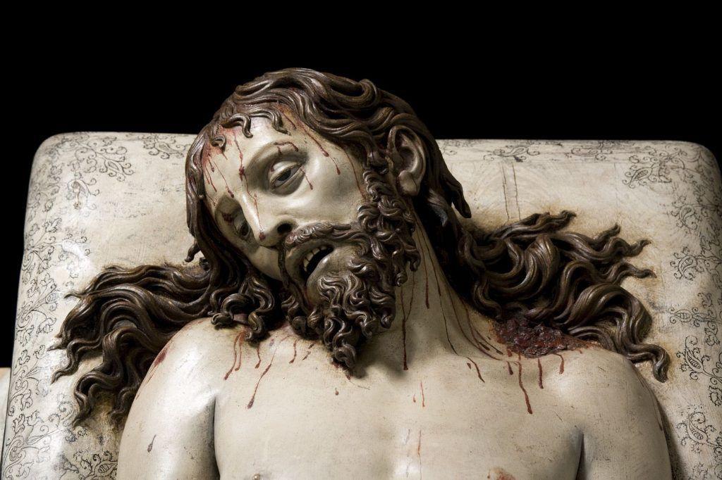 Gregorio Fernández (um 1576–1636), Toter Christus, Kopf, 1625–30 © Photo Imagen M.A.S. Courtesy of Museo Nacional del Prado, Madrid. On long loan to the Museo Nacional Colegio de San Gregorio, Valladolid.