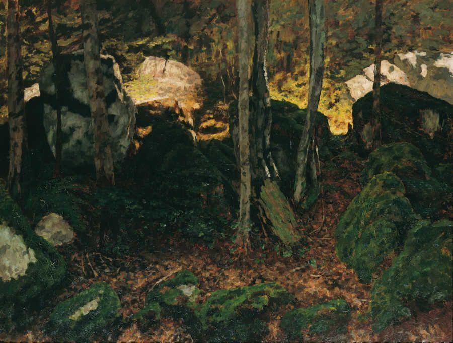 Carl Schuch, Waldinneres beim Saut du Doubs, um 1890, Öl auf Leinwand, 119 x 150 cm (Privatsammlung)