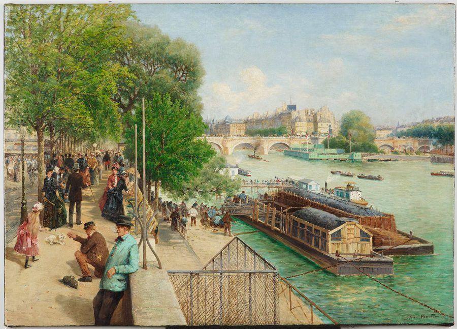 Theodor von Hörmann, Am Quai an der Seine mit Blick auf die Île de la Cité, um 1888, Öl auf Leinwand, 90 × 125,6 cm (Privatbesitz)