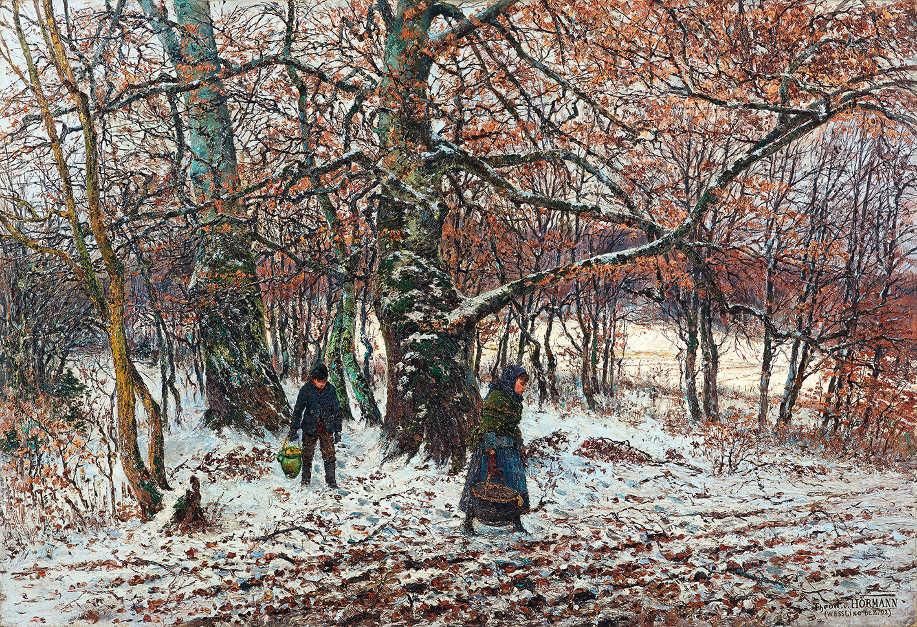 Theodor von Hörmann, Bauernkinder im winterlichen Buchenwald, Weßling, 1892, Öl auf Leinwand, 70,6 × 102,4 cm (Leopold Museum, Wien)