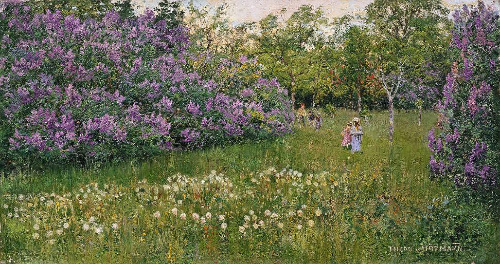 Theodor von Hörmann, Blühender Garten in Znaim, um 1893, Öl auf Leinwand, 26 × 49,5 cm (Leopold Privatsammlung)
