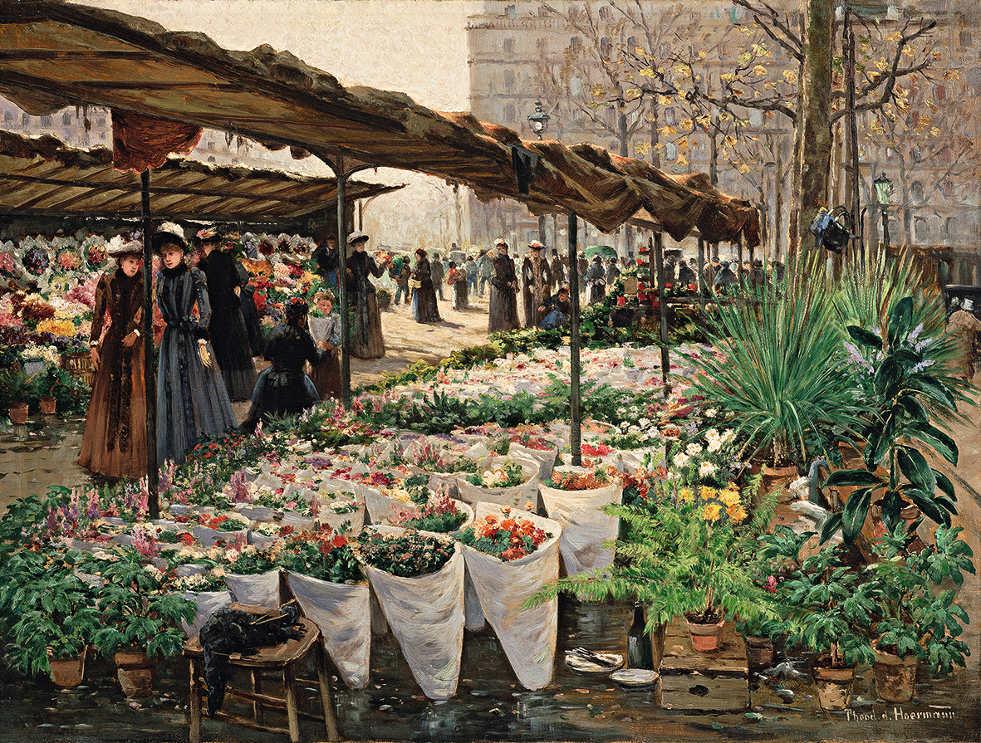 Theodor von Hörmann, Blumenmarkt an der Madeleine IV, um 1889, Öl auf Leinwand, 46 × 61,2 cm (Leopold Museum, Wien)