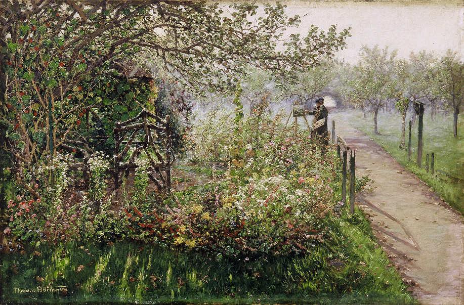Theodor von Hörmann, Der Maler im Blumengarten (Selbstbildnis), um 1891/92, Öl auf Leinwand, 38,5 × 59 cm (Tiroler Landesmuseum Ferdinandeum, Innsbruck)