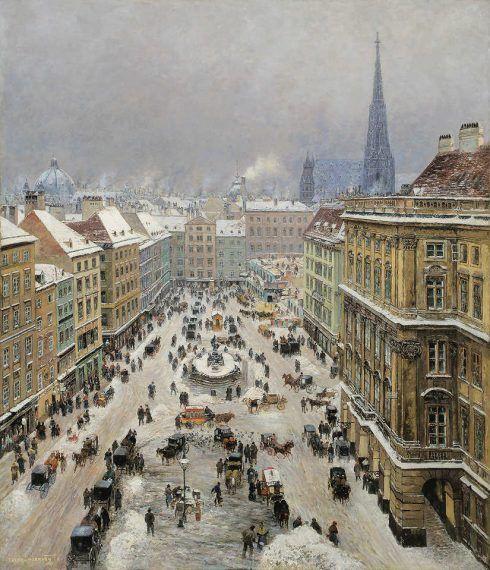 Theodor von Hörmann, Der Neue Markt in Wien, 1895, Öl auf Leinwand, 144 × 125 cm (Privatbesitz)