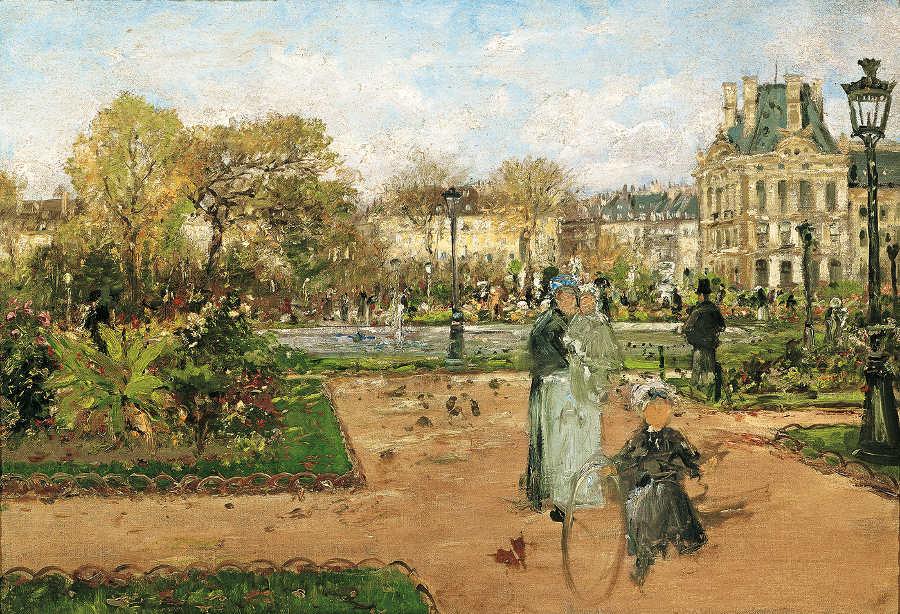 Theodor von Hörmann, In den Tuilerien, um 1888, Öl auf Leinwand, 38 × 55 cm (Belvedere, Wien)