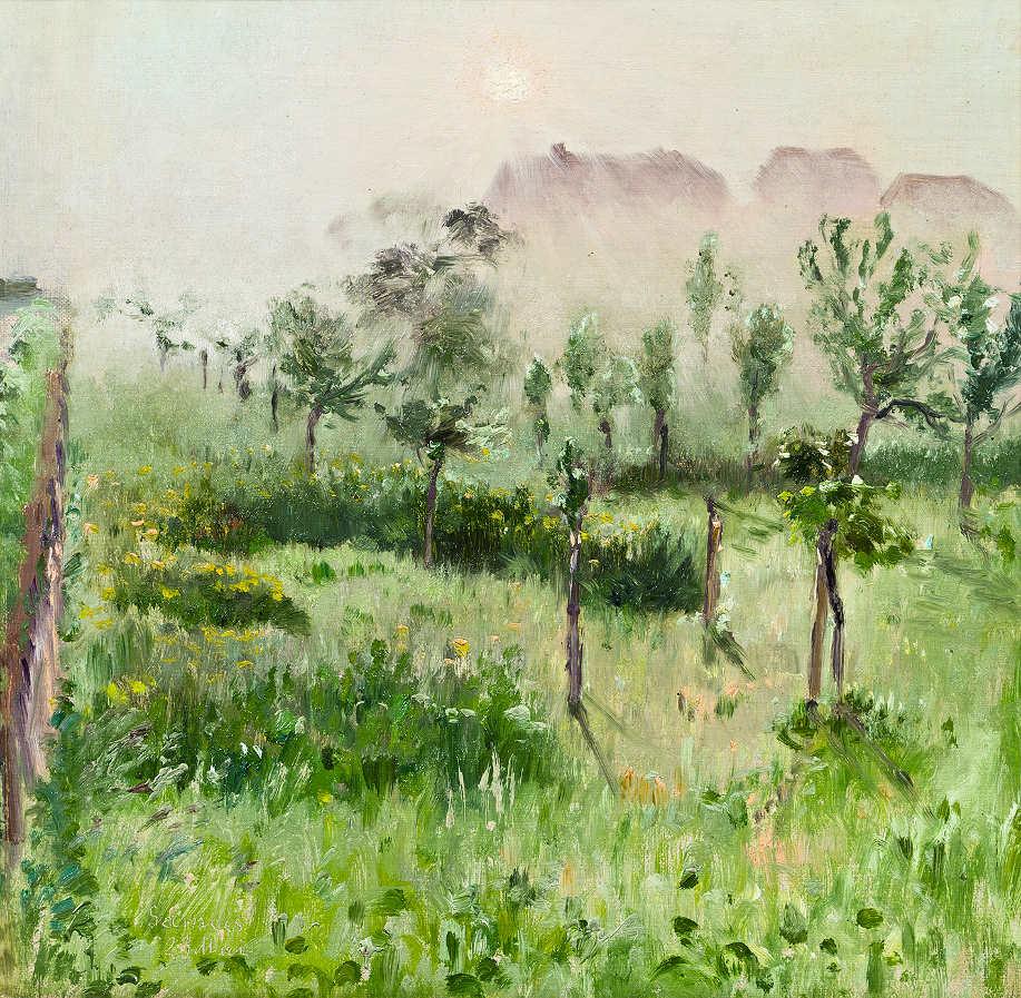 Theodor von Hörmann, Morgennebel, um 1889, Öl auf Leinwand, 25 × 25 cm (Privatsammlung)