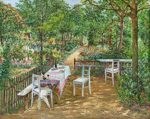 Theodor von Hörmann, Sommer im Garten, Znaim, um 1893, Öl auf Leinwand, 79,5 × 100 cm (Leopold Privatsammlung)