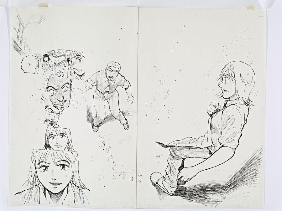 Tokihiko Ishiki, Reinzeichnung zu Nippon Chinbotsu, Tokyo, 2006–2009, basierend auf dem Roman von Sakyou Komatsu Band 1, Im Stiegenhaus während eines starken Erdbebens © Tokihito Ishiki.