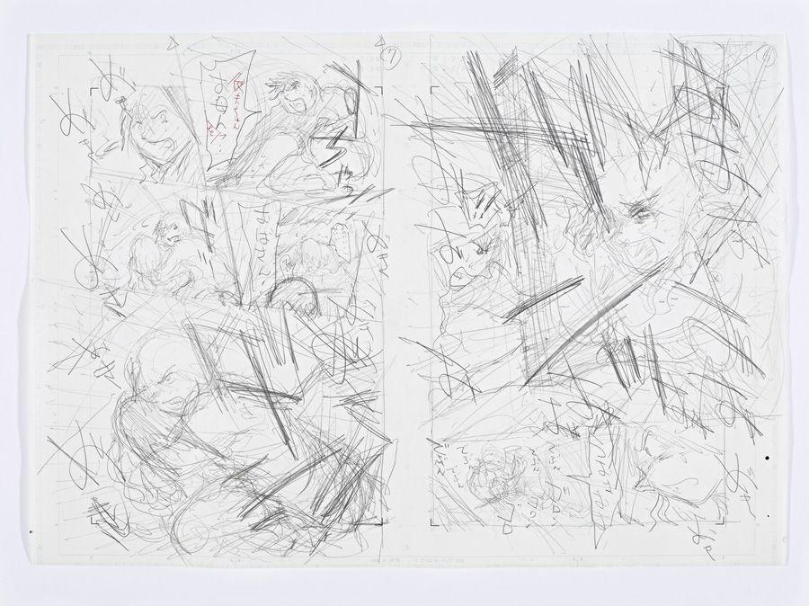 Tokihiko Ishiki, Reinzeichnung zu Nippon Chinbotsu, Tokyo, 2006–2009, basierend auf dem Roman von Sakyou Komatsu Band 4, Während eines Erdbebens in Kyoto © Tokihito Ishiki.