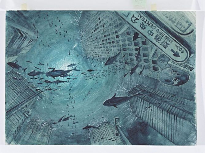 Tokihiko Ishiki, Manga-Illustration zu Nippon Chinbotsu, Tokyo, 2006–2009, basierend auf dem Roman von Sakyou Komatsu Band 1, Thunfischschwärme im versunkenen Tokyo © Tokihito Ishiki.