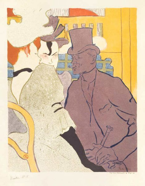 Henri de Toulouse-Lautrec, Der Engländer im Moulin Rouge, 1892, Farblithographie in Pinsel, 62,7 x 49 cm, Sammlung E.W.K., Bern.