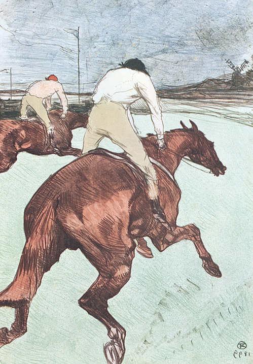 Henri de Toulouse-Lautrec, Der Jockey, 1899, Farblithographie in Pinsel, Kreide und Spritztechnik, 51,6 x 36,4 cm, Sammlung E.W.K., Bern.