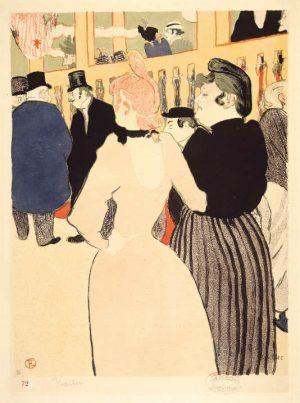 Henri de Toulouse-Lautrec, Im Moulin Rouge. Die Goulue, und ihre Schwester, 1892, Farblithographie in Pinsel und Spritztechnik, 58 x 43,5 cm, Sammlung E.W.K., Bern.