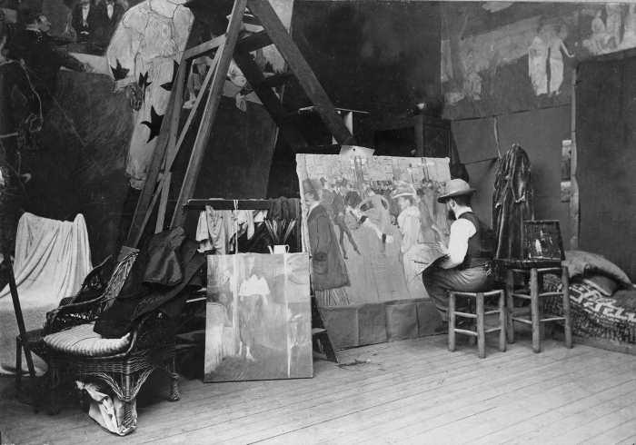 Maurice Guibert, Lautrec arbeitet am Gemälde «La Danse au Moulin-Rouge», 1894, Neuabzug von einem Glasnegativ, Albi, Musée Toulouse-Lautrec © Musée Toulouse-Lautrec, Albi - Tarn - France.