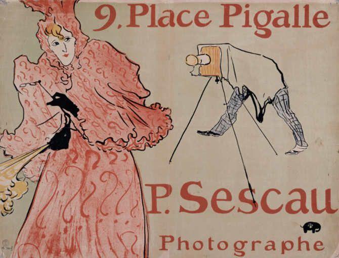 Henri de Toulouse-Lautrec, Plakat für den Photographen Sescau, 1896, Farblithographie in Pinsel, Kreide und Spritztechnik, 60,7 x 80 cm, Sammlung E.W.K., Bern.