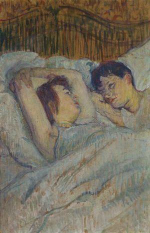 Henri de Toulouse-Lautrec, Im Bett, 1892, Öl auf Karton, 53 × 34 cm, Privatsammlung, Schweiz.