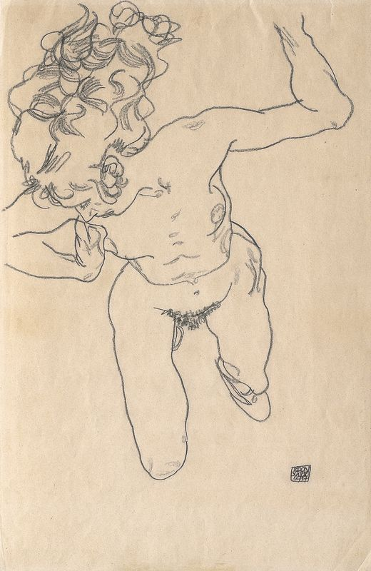 """Egon Schiele, Liegende (""""Stürzende"""") mit langem Haar, 1917, Kohle auf Papier, 45,7 × 29,5 cm, Leopold Privatsammlung."""